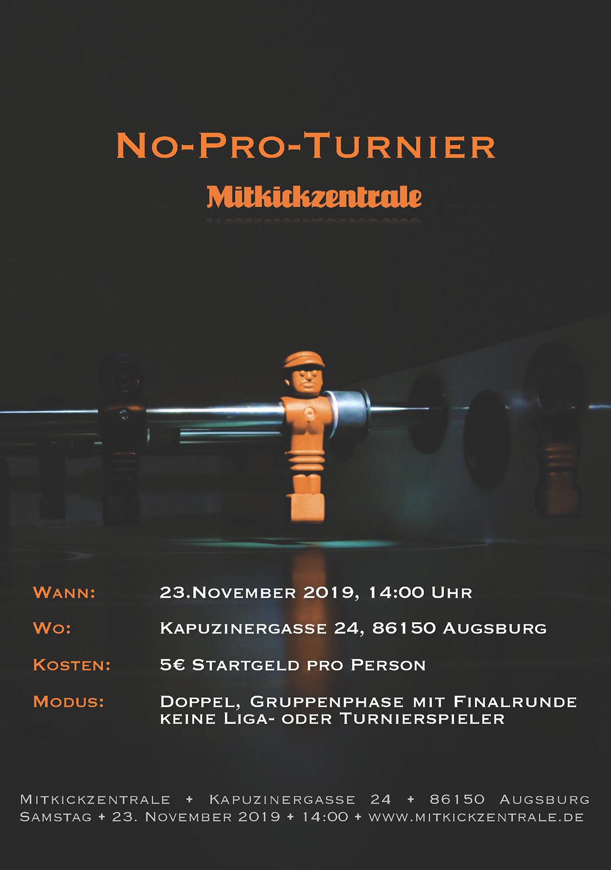 No-Pro-Turnier am 23.11.2019 um 14 Uhr
